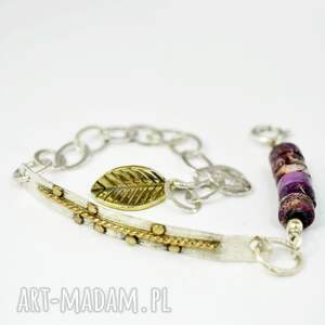 jaspis, delikatna, bransoletka, srebro, 925, złocona, jaspis biżuteria