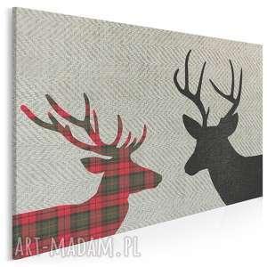 obraz na płótnie - jelenie krata czerń 120x80 cm 46201, jelenie, rogi
