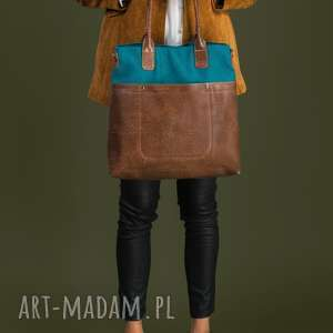 handmade na ramię fiella - duża torba - turkus