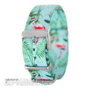 Pasek do zegarka - nato, nylonowy, flamingi zegarki yenoo pasek