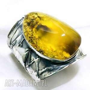 ręcznie zrobione duża bransoleta z bursztynem bałtyckim srebro 925
