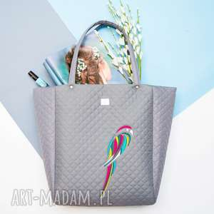 ręczne wykonanie na ramię torebka pikowana papuga 513 szara