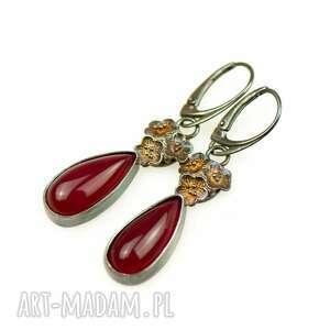 kolczyki srebrne z czerwonym kamieniem a852, ze srebra