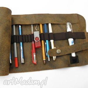 etui piórnik skórzany duży, piórnik, skóra, skórzany, szyty, prezent, vintage