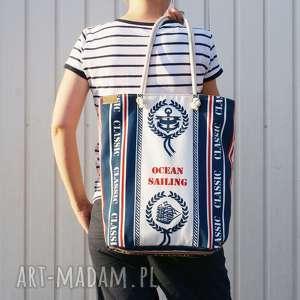owal shopper marynarskie płótno, vegan, morze, lato, torebka, torba na ramię