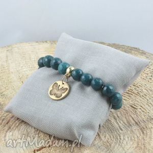 bransoletka z motylem w jadeitowych turkusach , motyl, jadeit, brąz biżuteria
