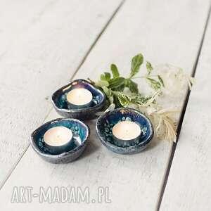 podstawki pod tea light 3 szt świeczniki turkusowe, świecznik