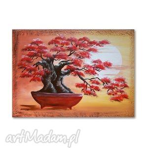 obrazy bonsai, obraz ręcznie malowany na płótnie, obraz, ręcznie, malowany, bonsai
