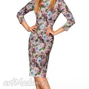 sukienki sukienka greta midi violette, sukienka, midi, dopasowana, ołówkowa, kwiaty