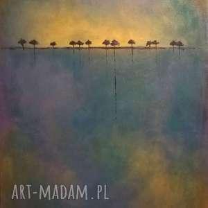 obraz na płótnie - drzewa 40/50 cm, abstrakcja, fiolet, niebieski, drzewa, żółty