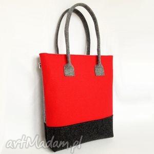 Tripfelt - torba na ramię czerwień szary grafit totostyle filc