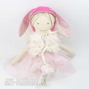 lalki lalka ręcznie szyta, czapka baonnetka z króliczymi uszami, lalka, szmacianka