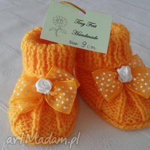 buciki niemowlęce z szyfonową kokardką, buciki, kapciuszki, dziecięce