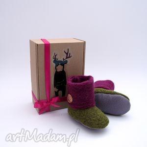 buciki bambosze hand made wełna zielony fiolet, papcie, butki,