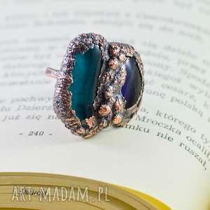 blue raw - pierścionek ze szkłem fusingowym, duży pierścionek