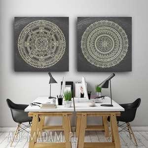 Zestaw 2 mandal 50x50cm, plakat, mandala, plakaty, sztuka, grafika
