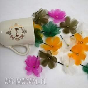 ozdoby do włosów kwiat ecru, kwiaty, kwiat, jedwab, prezent na święta