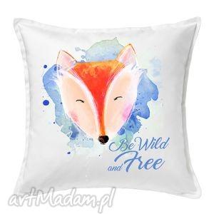 poduszka lisek be wild and free 50x50, poduszka, bawełna, ilustracja, prezent