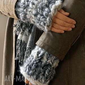 Rękawki chunky rękawiczki mondu mitenki, dziergane, płaszcz