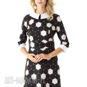 elegancka sukienka z kołnierzykiem szara w koła 010