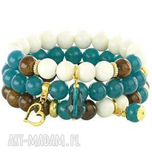 SEA-GREEN,BROWN & IVORY SET. - ,morski,jadeit,kropla,serce,