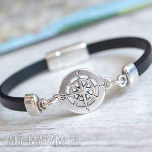 bransoletka skórzana magnetoos minimal kompas black, bransoletka, skóra, rzemień
