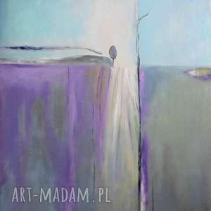 obraz na płótnie - abstrakcja w fioletach i szarościach 50/40 cm