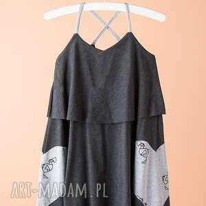 Sukienka DSU10G, sukienka, stylowa, serce, wzorzysta, szelki, dodokids