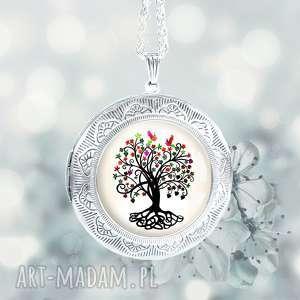 magic tree naszyjnik z drzewem duży sekretnik posrebrzany - medalion, sekretnik