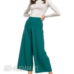spodnie z szeroką nogawką, t272, szmaragdowy, spodnie, wysoki, stan