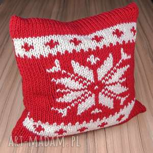 powłoczka na poduszkę z akrylu norweskim wzorem żakardowym - śnieżynka, poduszka