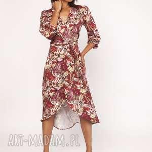 ASYMETRYCZNA, KOPERTOWA SUKIENKA, SUK161 WZÓR, sukienka, wiązana, asymetryczna, wzór