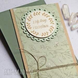 kartka ślubna zieleń, ślub, ślubna