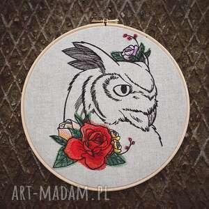 Obrazek haftowany sowa dekoracje zapetlona nitka