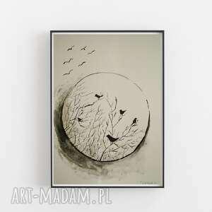 ptaki abstrakcja-praca formatu 18/24 cm, ptaki, akwarela, abstrakcja