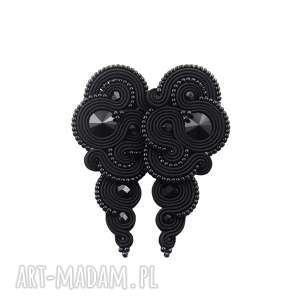 kolczyki soutache rosaline black, sutasz, soutache, długie, wieczorowe, stylowe