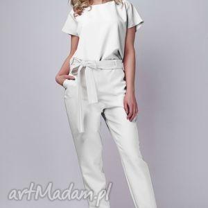 Kombinezon, KB102 ecru, kombinezon, spodnie, bluzka, elegancki, pasek, biały