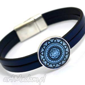 bransoletka skóra magnetoos mandallo navy blue, skóra, przekładka, cyna, magnetyczne
