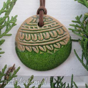 wisiorek etniczny zielony ceramiczny, indie, indyjski, boho, etno
