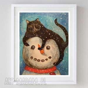 kot z bałwankiem - akwarela formatu 18/24 cm, bałwan, akwarela, kot, papier