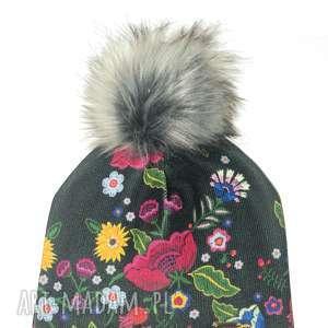 Prezent Czapka beanie pompon z futra, kwiaty, czapa, czapka, pompon, prezent