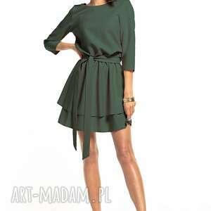 Elegancka sukienka z podwójną spódnicą, t320, khaki sukienki