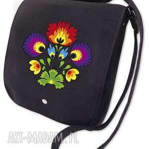 filcowa torebka listonoszka - bukiet t7003, listonoszka, kwiaty, haft, filc