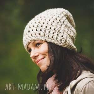 ręcznie robiona czapka tweed jasny beż hand made, czapka, czapki, rękodzieło, włóczka