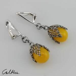 handmade klipsy żółte w siateczce - #