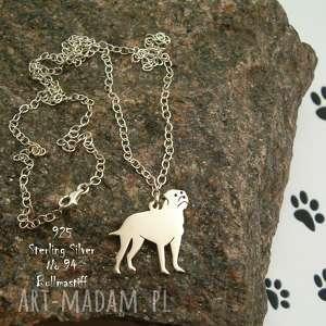 bullmastiff srebro próby 925 naszyjnik nr 94, bullmastiff, z psem