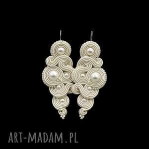 kolczyki ślubne milino pearl soutache, sutasz, perłowe, kobiecie, moodne