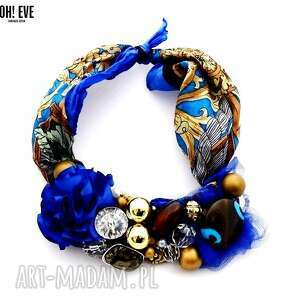 naszyjniki blue gold naszyjnik handmade, naszyjnik, niebieski, złoty, kobalt