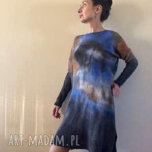 Ręcznie barwiony sweter tunika z jagnięcej wełny swetry anna