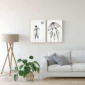 zestaw 2 grafik 40x60 cm wykonanych ręcznie, plakat, abstrakcja, elegancki